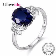 blue wedding rings aliexpress buy uloveido silver 925 jewelry blue zircon