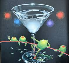martini glass painting romero britto art for sale