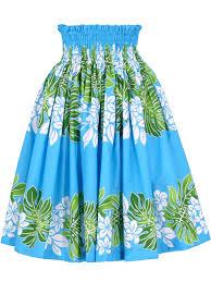 hawaiian pattern skirt hula pa u skirt with plumeria monstera print turquoise g1687