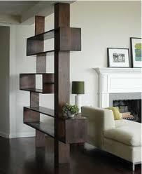 Open Bookshelf Room Divider Partitions Wooden Beams Dark Shelf White Kitchen Living Wood