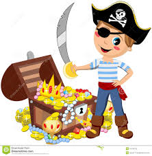 pirate boy sword treasure chest isolated stock vector image