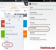 add language to android how to change default language for firefox in android