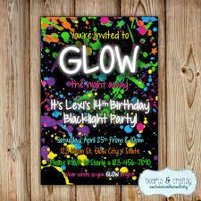 glow in the dark party invitation neon birthday invitation