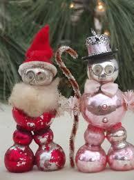 vintage figural glass tree ornaments santa and snowman