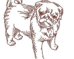 pug embroidery etsy