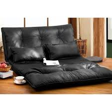 Black Sofa Bed Merax Pu Leather Foldable Floor Sofa Bed With Two Pillows Black