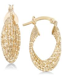 pictures of gold earrings italian gold textured multi ring oval hoop earrings in 14k gold