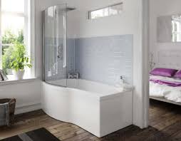 1500mm left hand shower bath b shape bathroom curved glass screen