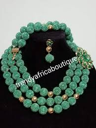 wedding bead necklace images Sale 3pcs hand beaded necklace set nigerian african traditional jpg