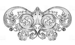 vintage baroque frame engraving scroll ornament stock vector