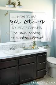 how to refinish bathroom cabinets diy gel stain cabinets no heavy sanding or stripping maison de pax