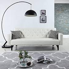 leather sofa with nailheads amazon com modern tufted bonded leather sleeper futon sofa with