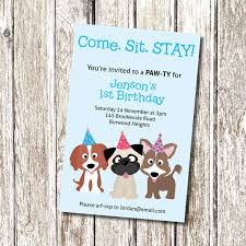puppy party invitation come sit stay printable and