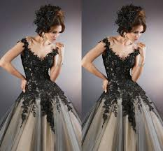 Black Wedding Dress Discount 2015 Vintage Gothic Black And Wedding Dresses Ball