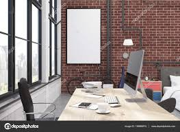 home office interior with brick walls large windows a computer
