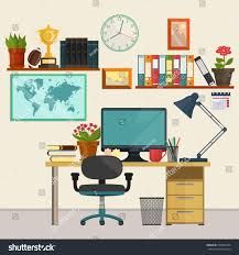 home interior business home office interior business education workplace stock vector