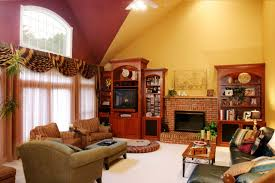 Armchair Books Living Room Chandelier Yellow And Maroon Wallpaper Brick