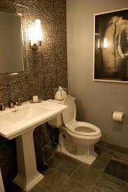 guest bathroom design ceramic floor tile with modern pedestal sink for masculine