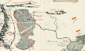 map from lord of the rings map of middle earth annotated by tolkien found in a copy of lord