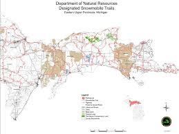 up michigan map michigan snowmobile trails eastern peninsula maplets