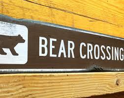 bear crossing sign etsy