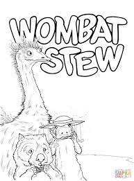 emu platypus and wombat coloring page free printable coloring pages