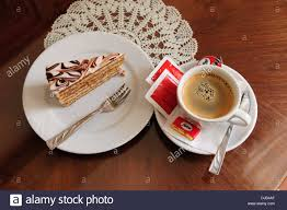 piece of cake and cup of coffee ruszwurm cafe budapest hungary