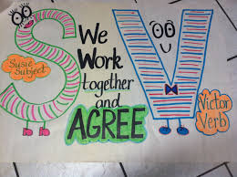 subject verb agreement anchor chart students will write sentences