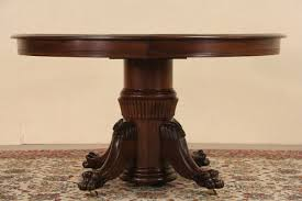 Oak Dining Furniture Sold Round Oak Antique 1900 Dining Table Lion Paw Pedestal