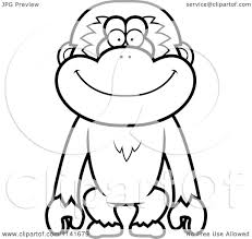 cartoon clipart of a black and white smiling gibbon monkey