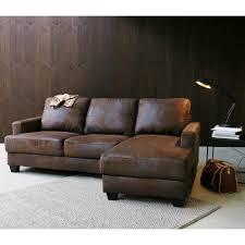 le monde du canapé canapé d angle droit 3 4 places en microsuède marron maisons du monde
