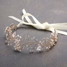 silver headband mariell headband with painted gold and silver leaves