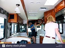motorhome interior kitchen sleeping arrangements washroom toilet