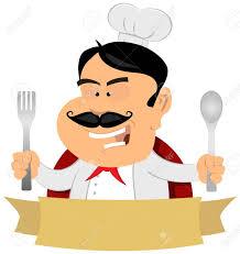 maitre de la cuisine illustration d une bannière cuisinier dessin animé chef maître de