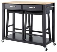 natural wood top kitchen cart island black with saddle stools