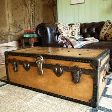 Vintage Coffee Tables by Vintage Steamer Trunk 30s Travel Trunk Industrial Chest Coffee