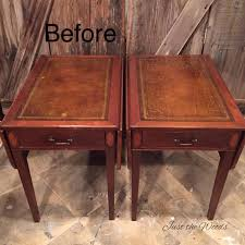 leather top side table yes you can paint the leather vintage tables hometalk