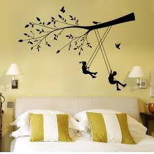 Childrens Bedroom Wall Stickers Removable 2015 New Style Boys And Girls On The Swings Wall Stickers Decor