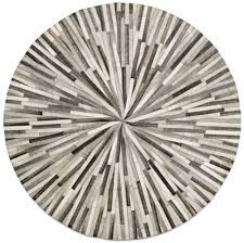 Modern Circular Rugs Grey Cowskin 150cm Diameter Contemporary Rugs Quality From