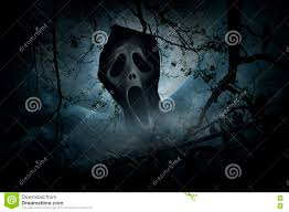 halloween background crow ghost scream with old fence over smoke dead tree crow moon an