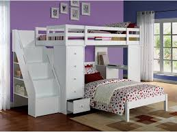 Bunk Bed Stairs Sold Separately Freya Loft Bunk Bed W Bookcase Ladder Chest U0026 Desk White Top