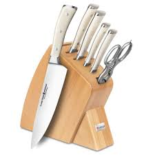 Kitchen Knives Wusthof Wusthof Classic Ikon Creme Slim Knife Block Set 7