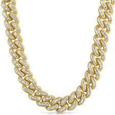 necklace diamond gold images Exotic baguette lab diamond gold cuban chain jewelryfresh JPG
