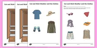 cut and stick weather and clothes activity sheet irish