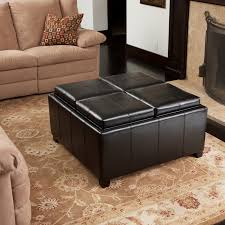furniture long black leather ottoman coffee table with single
