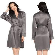 robe de chambre en soie femme lilysilk peignoir femme soie 100 soie de mûrier 22 momme gris foncé