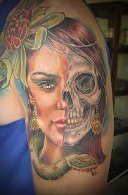 image result for skull woman tattoo profile skulls and tattoos