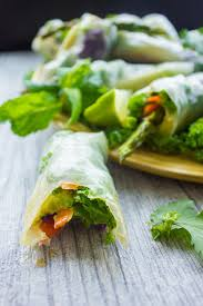 rice paper wrap thai style rice paper rolls with two dipping sauces two purple figs