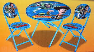 fisher price table and chairs disney pixar toy story kid s blue 3 piece folding table and chair
