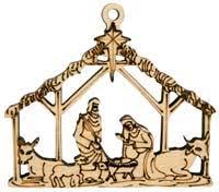 laser engraved nativity christmas tree ornament birch or cedar wood